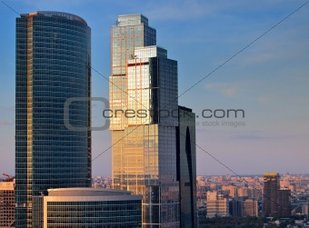 Modern skyscrapers above city
