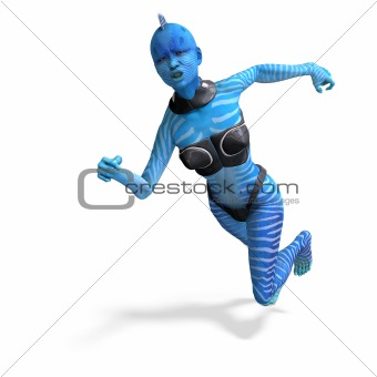 blue female alien running