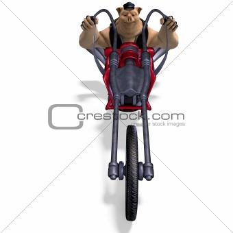 toon animal big pig as a biker