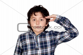 Adorable child with plaid t-shirt isolated
