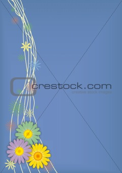 Three daisies on violet vector background