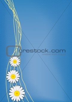 Three daisies on blue vector background with three-dimensional halftone