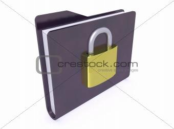 black folder icon and padlock closed