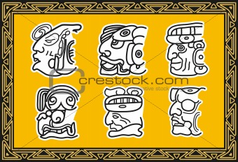 Set of ancient american indian patterns. Faces