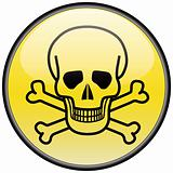 Skull and bones vector round hazardous sign