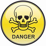 Skull and bones danger vector round hazardous sign