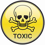 Skull and bones toxic vector round hazardous sign