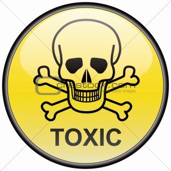 Skull and bones toxic vector round hazardous sign