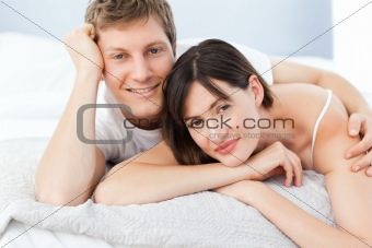 Cute lovers looking at the camera