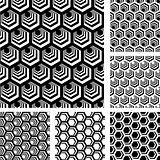 Seamless geometric patterns. Designs set with hexagonal elements.