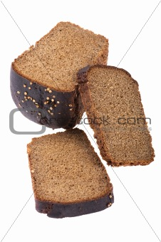 Cutting black bread
