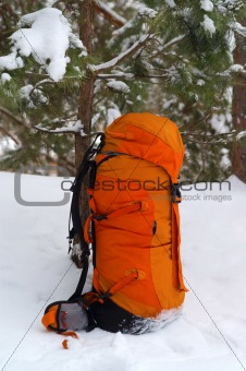 Backpack in snow forest