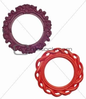 Pair of Round Modern Vibrant Colored Empty Frames