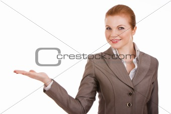 young business woman holding something
