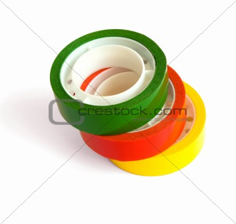 Three colored sticky tape