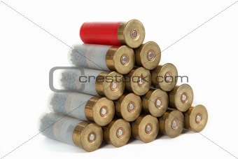 The image of the hunting cartridges, isolated, on a white backgr