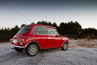 Classic Red Mini car.