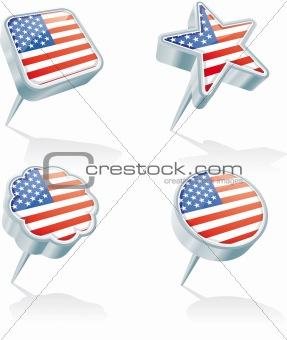 Four USA pins