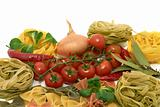 Italian pasta tagliatelle and farfalle with vegetables