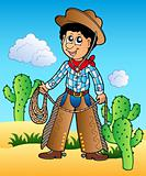 Cartoon cowboy in desert