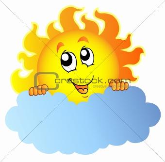Cartoon Sun holding cloud