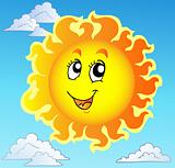 Cute happy Sun on blue sky
