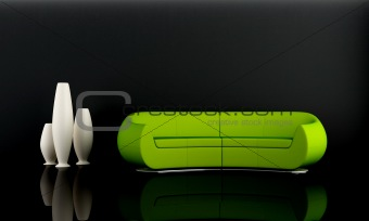 Green sofa in dark room