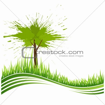 Green grass and tree. Eco background