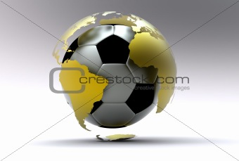 3d golden soccer ball