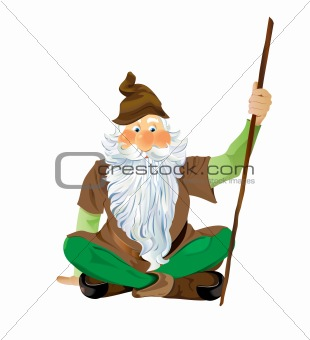 Garden Gnome Sitting Cross Legged.  Scalable vector EPS10 illustration.