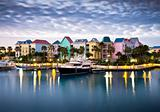 Tropical Caribbean Harbor Marina in Morning Light