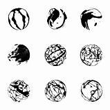 3d set black sphere. Vector
