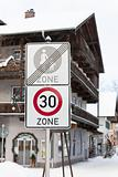 Speed limit road sign in a town