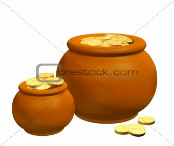 Pots with golden coins