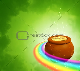 Background with rainbow and pot
