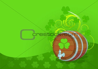 St. Patrick's Day design with beer keg