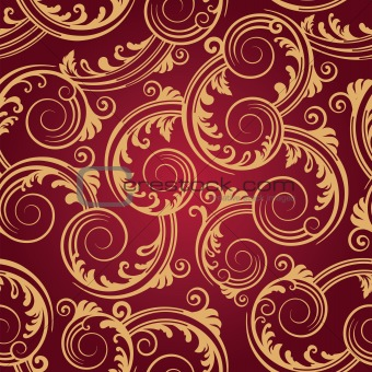 Seamless red & gold swirls wallpaper