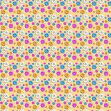 Seamless pattern with colored camomiles