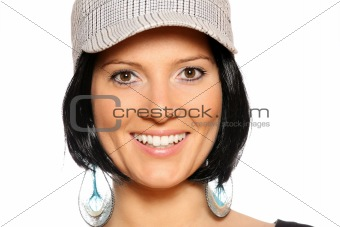 Beautiful woman in a baseball cap