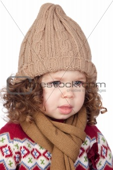 Beautiful baby girl with wool cap