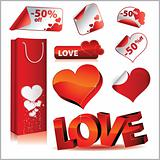 Vector icon set, love, stickers and bag