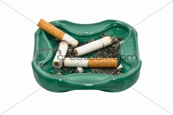 Ashtray and cigarette butts, isolated on white background