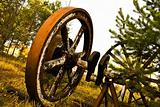 Old wooden wheel standing with grass & trees background