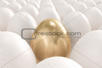 Golden egg standing out from the crowd