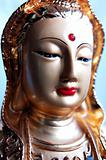 Closeup view of a golden buddha statue