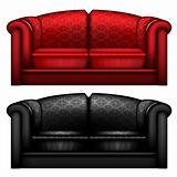 Black and red leather sofa