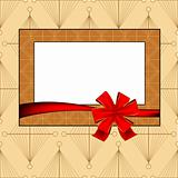 Vintage photo frame with ribbon