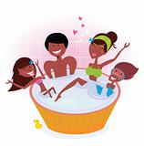 Dark skin family with two children in bath tub