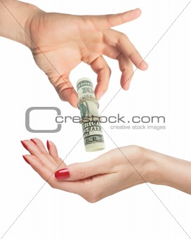 woman hand and man hand with dollar banknote isolated on white
