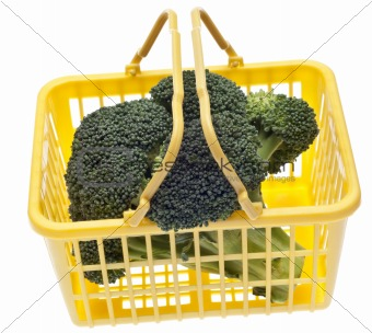 Fresh Broccoli in a Yellow Shopping Basket
